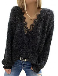 cheap -Women's Knitted Solid Color Pullover Long Sleeve Sweater Cardigans V Neck Fall Spring Black