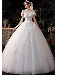cheap -Princess Ball Gown Wedding Dresses Jewel Neck Floor Length Lace Tulle Short Sleeve Formal Romantic Elegant with Appliques 2021