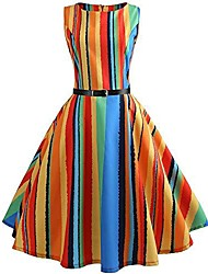 cheap -women vintage rainbow strip printing bodycon sleeveless casual evening party prom swing dress(multicolor,uk-10/cn-xl)