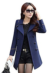 cheap -ladies lapel wool coats women's double breasted slim fit trench jackets winter mid-long outwear fashion coat navy