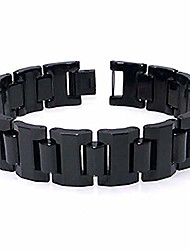 cheap -black tungsten carbide 16mm men's link bracelet sz 7.5""