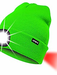 cheap -8led lighted knit hat,usb rechargeable running headlamp cap ultra bright waterproof light lamp and flashing alarm red tail light multi-color/fluorescent green