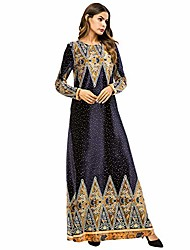 cheap -women printed kaftans muslim velvet maxi dress, long sleeve robe arabic abaya islamic clothing hindu caftan for ramadan dark blue