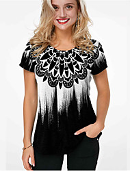 cheap -Women's Plus Size Tops Blouse Print Graphic Prints Large Size Round Neck Short Sleeve Big Size