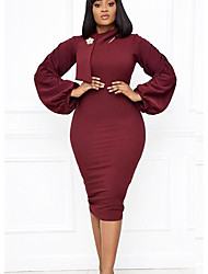 cheap -Women's Plus Size Dresses Sheath Dress Midi Dress Long Sleeve Solid Color Patchwork Turtleneck Work Spring &  Fall / Slim