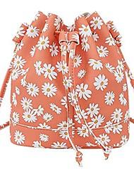 cheap -women's pure color flowers crossbody bag fashion bucket bag shoulder bag hand bag messenger bag phone bag (orange)