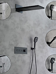 cheap -shower faucet / rainfall shower head system / thermostatic mixer valve set - handshower included fixed mount rainfall shower contemporary painted finishes mount inside ceramic valve bath shower mixer