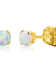 cheap -round 3mm fire & snow white simulated opal stud earrings - 14k gold over sterling silver .925