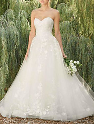 cheap -A-Line Wedding Dresses Sweetheart Neckline Floor Length Lace Tulle Sleeveless Country Romantic with Appliques 2020