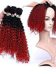 """cheap -kinky curly hair weave 3 bundles - 1b/bug black with red two tone colors hair extension 70g/pcs (16'' 18'' 20'') (color : red, size : 16""""-16""""-16"""")"""