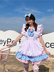 cheap -Lolita Lolita Cute Women's Japanese Cosplay Costumes Pink Solid Colored Short Sleeve Above Knee / Dress / Apron