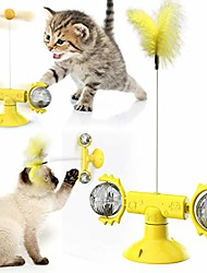 cheap -windmill cat toy for indoor cats interactive,3-in-1 turntable teasing cat toy catnip balls with wand stick teaser, suction cup scratcher (yellow)
