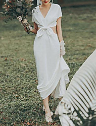 cheap -A-Line Wedding Dresses V Neck Ankle Length Stretch Satin Short Sleeve Country Simple with Bow(s) 2020