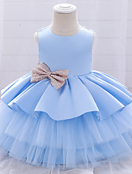 cheap -Baby Girls' Basic Butterfly Solid Colored Backless Satin Mesh Bow Sleeveless Knee-length Dress Blue Blushing Pink Wine