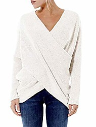 cheap -women top women shirt sexy elegant v-neck solid color knitted shirt and winter loose women's sweater in cross shape fashion women's clothing a-white 3xl