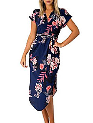 cheap -Women's A Line Dress Midi Dress Rainbow Pink 5000 pieces of stock are in stock and shipped on the same day Blue Gray White Black Dark Blue Short Sleeve Pattern Spring & Summer Casual 2021 S M L XL