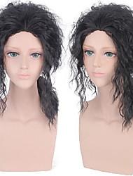 cheap -Cosplay Costume Wig Michael Jackson Curly Asymmetrical Wig Medium Length Black Synthetic Hair Men's Anime Cosplay Soft Black