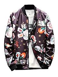 cheap -mens floral printing loose plus size full zip jacket coat outwear 2 xxxxl