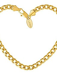 cheap -lifetime jewelry 5mm cuban link chain bracelet for men & women 24k gold plated, 7 inches