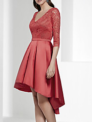 cheap -A-Line Beautiful Back Sexy Engagement Cocktail Party Dress V Neck Half Sleeve Asymmetrical Lace with Pleats 2021