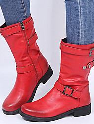 cheap -women large size retro solid color buckle strap block heel riding boots