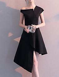 cheap -A-Line Little Black Dress Minimalist Homecoming Party Wear Dress One Shoulder Short Sleeve Asymmetrical Satin with Sleek 2020