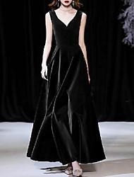 cheap -A-Line Minimalist Elegant Wedding Guest Formal Evening Dress V Neck Sleeveless Ankle Length Velvet with Sleek 2020