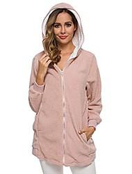 cheap -womens ladies plush hooded coat & long jacket, fluffy warm casual loose sweatshirt fleece hoodies zipper outwear with pockets pink