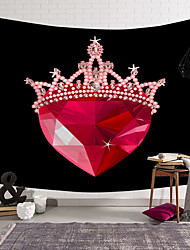 cheap -Valentine's Day Wall Tapestry Art Decor Blanket Curtain Hanging Home Bedroom Living Room Decoration Diamond Crown