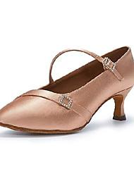 cheap -Women's Dance Shoes Dance Sneakers Heel Buckle Flared Heel Pink Buckle / Performance / Satin