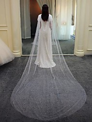 cheap -One-tier Elegant & Luxurious Wedding Veil Cathedral Veils with Faux Pearl Tulle