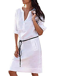 cheap -Women's Shirt Dress Knee Length Dress White Black Yellow Beige Long Sleeve Solid Color Fall Spring Casual / Daily 2021 S M L XL XXL XXXL 4XL 5XL