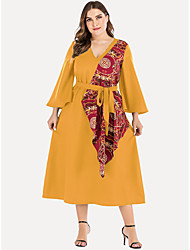 cheap -Women's Plus Size Solid Color Lace up Vintage Long Sleeve Spring & Summer Midi Dress A Line Dress