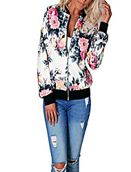 cheap -Women's Coat Floral Sporty Floral Fall Jacket Regular Street Long Sleeve 35%Cotton 65%Polyester Coat Tops White print
