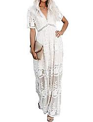 cheap -ladies lace dress summer short sleeves v neck beach maxi dress long boho dress party dress white w