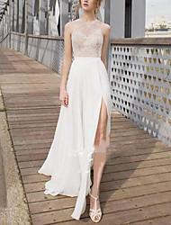 cheap -Sheath / Column Wedding Dresses Jewel Neck Tea Length Lace Italy Satin Sleeveless Beach Sexy with Appliques Split Front 2021
