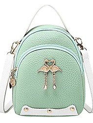 cheap -fashion women's solid color leather little swan backpack shoulder bag(15cm9cm18cm,green)