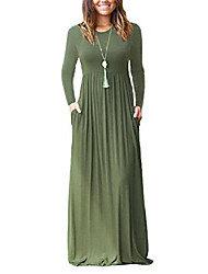 cheap -ladies casual loose maxi dresses long sleeves dresses long dress with pockets army green m