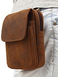 cheap -Men's Bags Cowhide Fanny Pack Mobile Phone Bag Zipper Plain 2021 Daily Date Dark Brown Brown