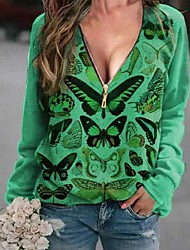 cheap -Women's Plus Size Tops T shirt Print Butterfly Large Size V Neck Long Sleeve Big Size