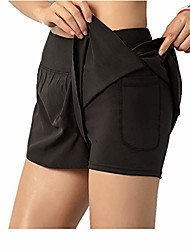 cheap -women's 2-in-1 yoga tennis skirt workout running golf skirted shorts with built-in shorts quick dry athletic sports pants ultra soft(black with pocket,s)