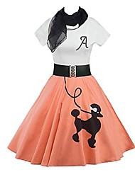 cheap -Women's A Line Dress Knee Length Dress Light Blue Pink Blue Purple Yellow Short Sleeve Pattern Spring & Summer Casual 2021 S M L XL XXL / Cotton / Cotton