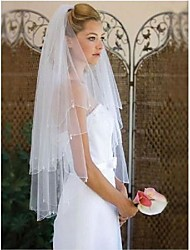 cheap -Two-tier Simple / Classic Style Wedding Veil Elbow Veils with Fringe 59.06 in (150cm) POLY / 100% Polyester