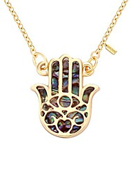 cheap -good luck protection abalone paua shell hamsa hand charm necklace(gold)