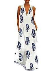cheap -Women's Loose Maxi long Dress , Picture color blue Picture color dark blue Picture color black Sleeveless Painting Summer Classic & Timeless 2021 S M L XL XXL XXXL 4XL 5XL