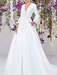 cheap -A-Line Wedding Dresses V Neck Sweep / Brush Train Satin Long Sleeve Country Formal Simple with Lace Appliques 2020