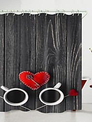 cheap -valentine's day wooden board love key coffee digital printing shower curtain shower curtains  hooks modern polyester new design