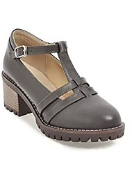 cheap -women's mid heel pumps classic t-strap mary jane dress shoes vintage platform oxfords,gray