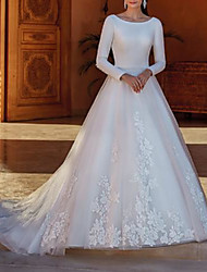 cheap -A-Line Wedding Dresses Jewel Neck Court Train Lace Satin Tulle Long Sleeve Country Formal with Appliques 2020