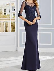 cheap -Sheath / Column Mother of the Bride Dress Elegant Illusion Neck Floor Length Stretch Fabric Half Sleeve with Lace Appliques 2021
